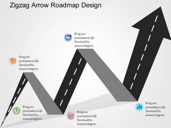 Zigzag Arrow Roadmap Design PowerPoint Templates