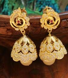 Buy Beautiful CZ high gold plated jumkas south-indian-jewellery online at http://www.mirraw.com/designers/urshi-collections/designs/beautiful-cz-high-gold-plated-jumkas-south-indian-jewellery--40