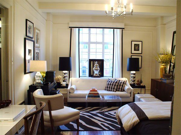 "Ron's Hotel ""Sweet"" from Apartment Therapy.  Still one of my favorite studios.  I live in hotel rooms - the last thing I want is for my place to feel like another one.  This is glamorous & comfy, too.  Love the sofa!"