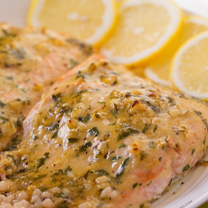 Baked Salmon with Honey Dijon and Garlic Recipe Main Dishes with fresh salmon, garlic, parsley, honey dijon mustard, lemon, salt, olive oil