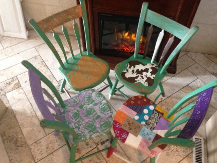 Set of four farmhouse chic chairs uniquely recreated by Behind The Purple Door, using van Gogh fossil paints.  Available now - contact cheryl@behindthepurpledoor.biz to purchase!