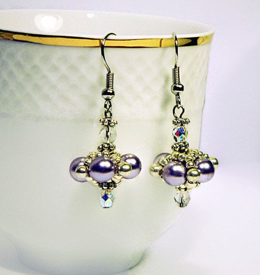 Light Purple Dangle Earrings, Bead Earrings, Beadwork Earrings, Pearly Earrings, Light Purple Earrings - pinned by pin4etsy.com