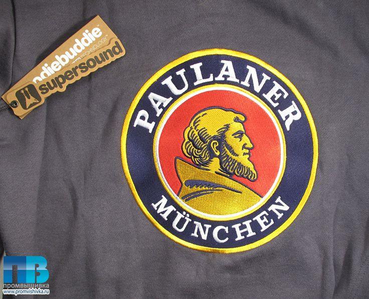 Вышивка эмблемы пива Paulaner Munchen на толстовке