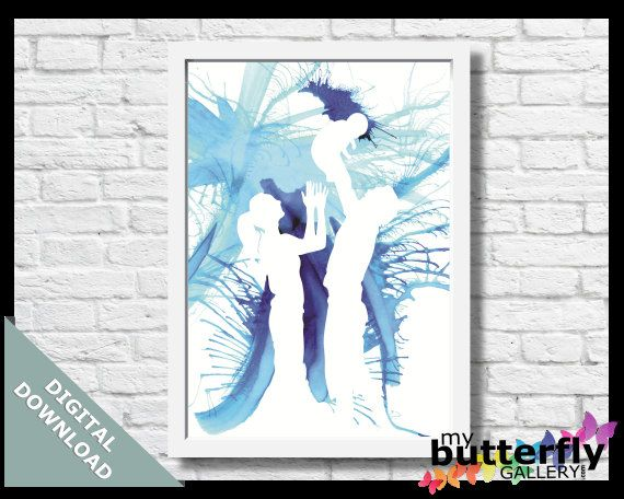 Water Colour Family Silhouette Instant by MyButterflyGallery