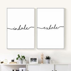 Inhale expirer affiche nordique minimaliste toile art peinture mur art décoratif photo décoration salon Maison Decor aucun cadre