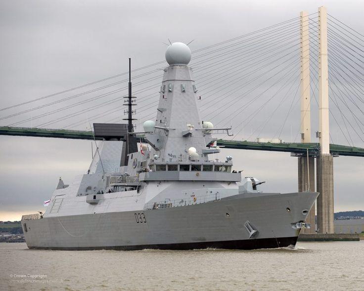 Type 45 Destroyer HMS Dauntless Sails Under the Dartford Bridge