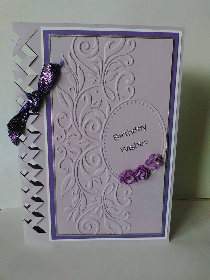 'Birthday Wishes' Card with braided edge and handmade roses (by Tassie Scrapangel)