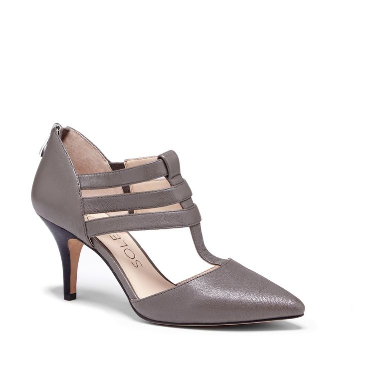 Women's French Taupe Leather 2 3/4 Inch T-strap Heel | Mallory by Sole Society