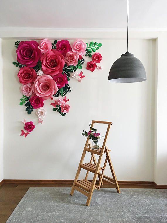 Papier fleur fond – papier fleur Arch – papier Floral Arramgement – feuilles de toile de fond – papillons de papier en papier