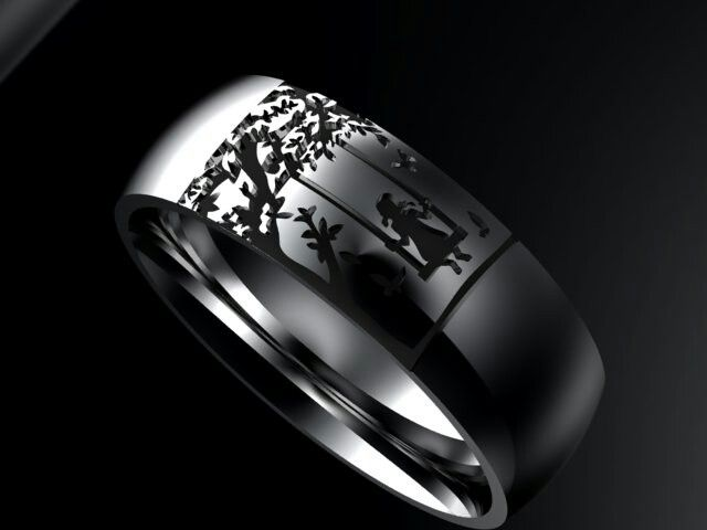 Gents 9ct white gold ring