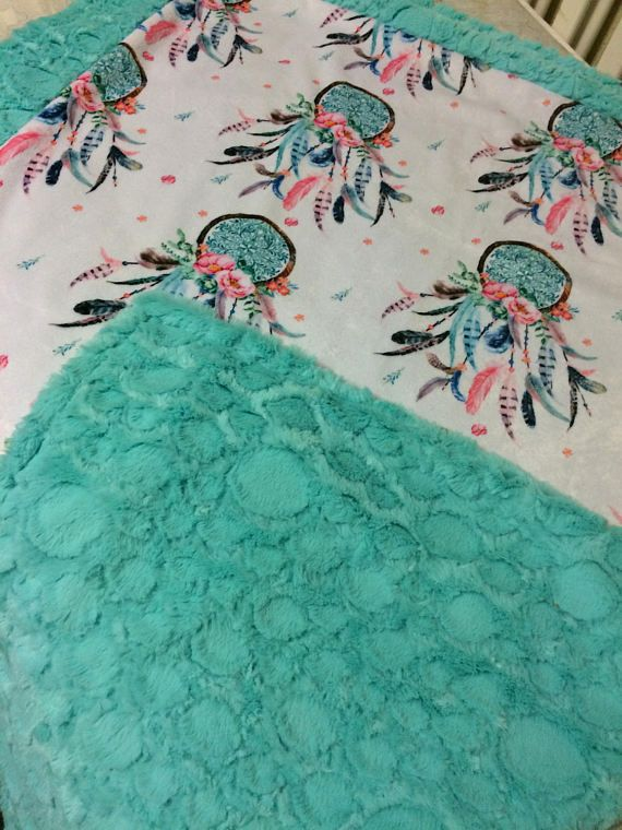 Dream Catcher Double Minky Blanket with Teal baby to Adult