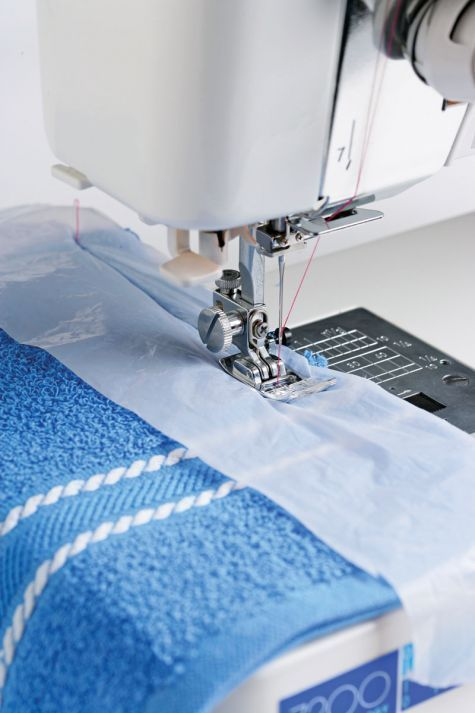 Use recycled plastic bags to help tame tricky fabrics.