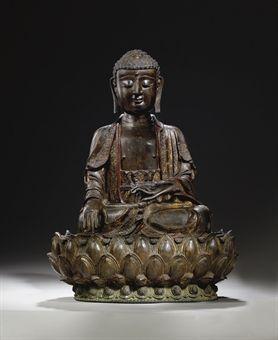 Importante Statue de Bouddha en bronze. Chine, Dynastie Ming, XVIème siècle