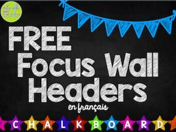 FREE French Daily Focus Wall labels - Chalkboard theme. Create a focus wall where your students can easily see your classroom goals & targets!