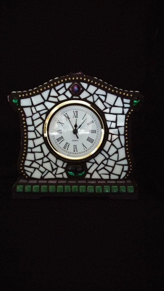Mantel Clock Purple Green and White