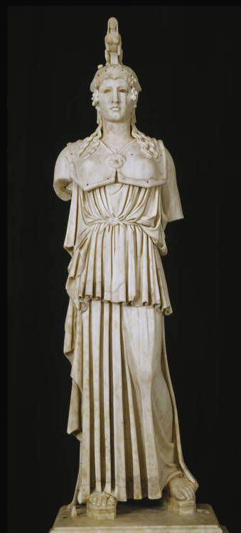 """Athena Parthenos, Roman copy of a Greek original, ca 130-150 CE, Museo Nacional del Prado. """"A miniature Roman reproduction of the famous statue that Phidias made for the Parthenon in Athens between 447 annd 438 B.C. The original was about eleven meters in height and was of gold and ivory. The finest copies, of which the present is an outstanding example, are small works with certain differences in proportion and details."""""""