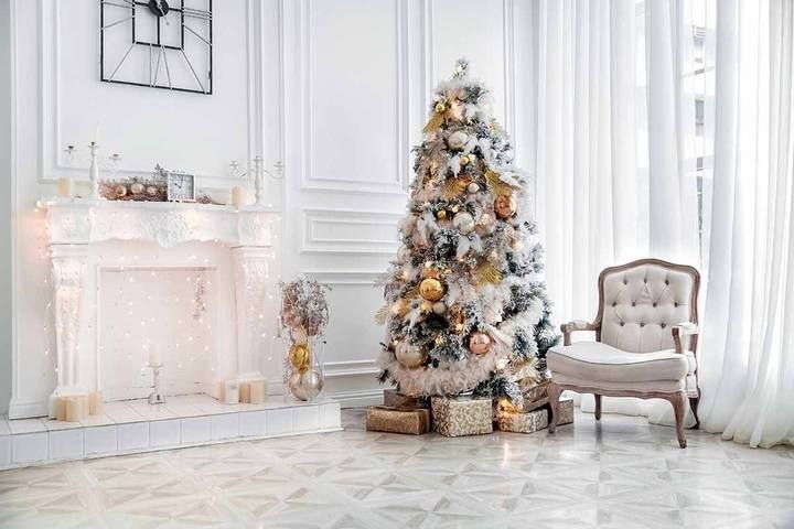 White Room With White Fireplace Christmas Tree For Holiday Photography Backdrop J 0091 Christmas Wallpaper Simple Holiday Photography Backdrops Christmas Room Decor Christmas tree living room background