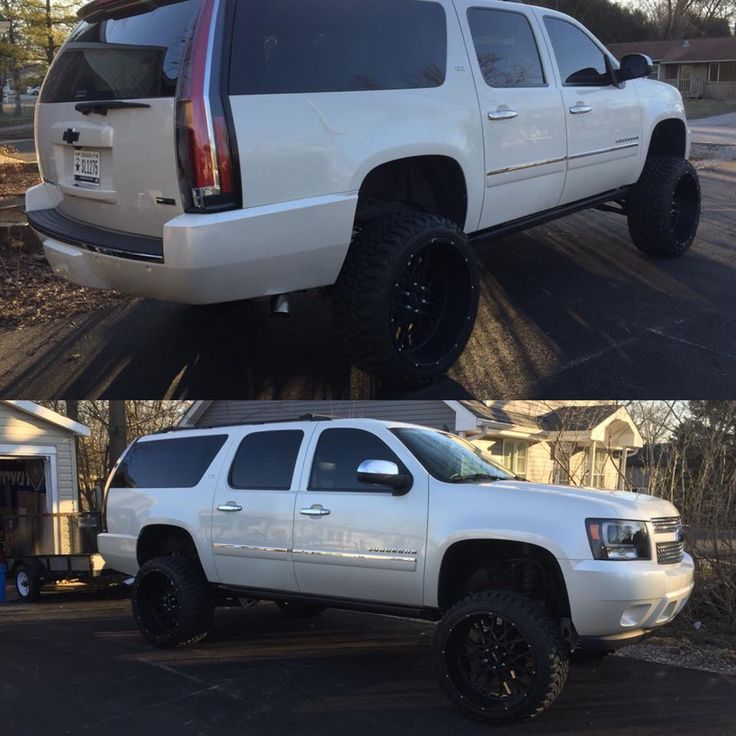 Escalade tail lights, offset tires 7 inch with extra 1 inch spacer (total 8 inch), 24 inch rims 51mm offset 35 inch tires