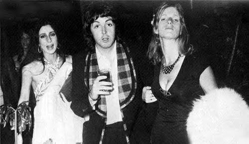 Cher with Paul and Linda McCartney