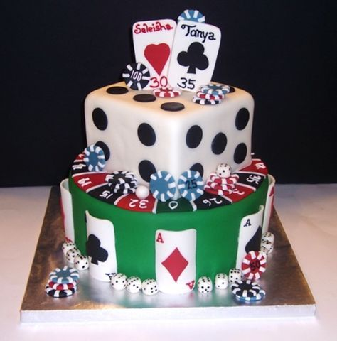 Casino...poker style cake for two sisters celebrating their birthday together....