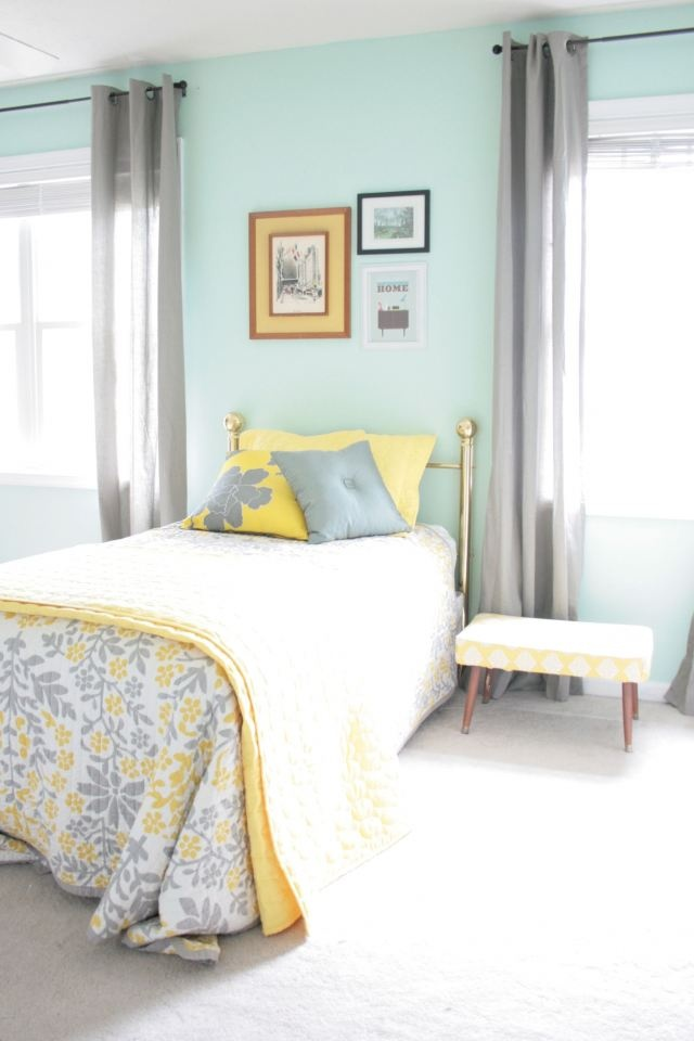 Aqua, grey and yellow... This is legitimately my room. From the bedspread to the accent wall.