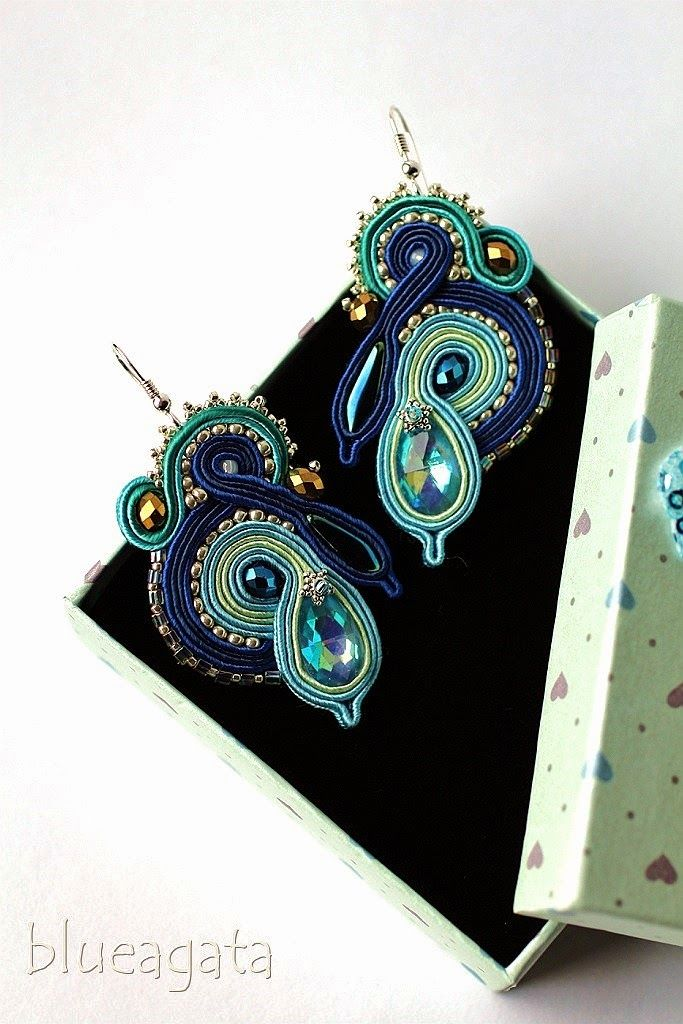blueagata: soutache earrings with cristals - blue shades.