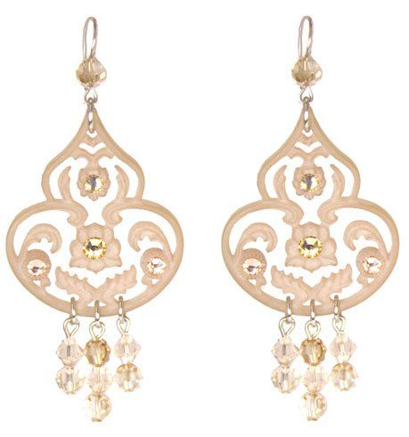 Tarina Tarantino Jewelry Classic Lucite Dangle Earrings Nude Fantastic Statement These Earrings will sell our very fast Cool WOW! Part of the Classic Tarina collection Lucite and Swarovski Austrian cr...