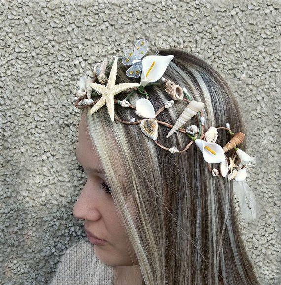 Check out Beach wedding crown, Starfish  Hair Accessories, Seashell hairpiece, bridal hairpiece, Mermaid tiara, Beach Bridal Hair  on seanatural
