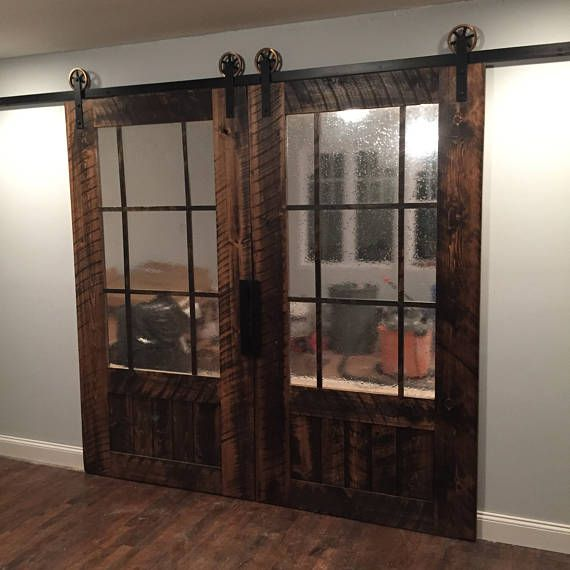 Double Barn Door With 3 4 Glass Glass Barn Doors Barn Doors Sliding French Doors Interior