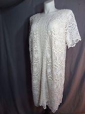 Adrianna Papell Short Sleeve Ivory Lace Shift Dress size 22W