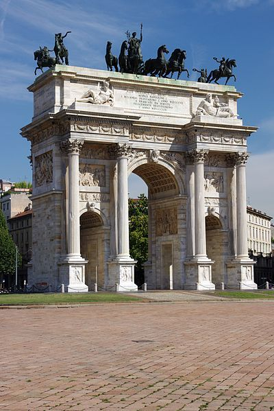 The Arch of Peace (Arco della Pace), Milan, Lombardy, Italy. The Arch of Peace was erected in 1807 by Napoleon in Neoclassical style, but its origins can be traced back to a gate of the Roman walls of Milan.