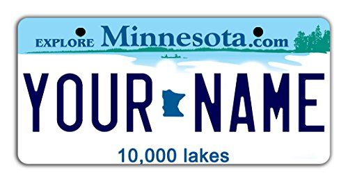 "BleuReign(TM) Personalized Custom Name Minnesota State Bicycle Bike Moped Golf Cart 3""x6"" License Plate Tag. For product & price info go to:  https://all4hiking.com/products/bleureigntm-personalized-custom-name-minnesota-state-bicycle-bike-moped-golf-cart-3x6-license-plate-tag/"