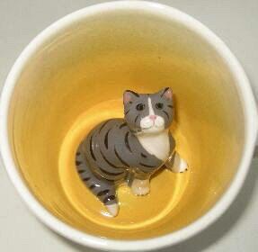 Grey Tabby Cat Surprise Mug by SpademanPottery on Etsy, $29.00