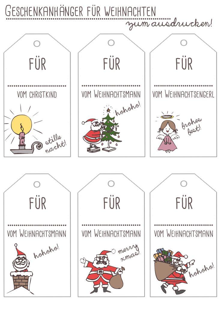 Weihnachten Geschenkanhänger Freebie