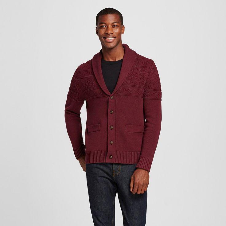 Men's Shawl Collar Cardigan Sweater Dark Red Xxl - Merona