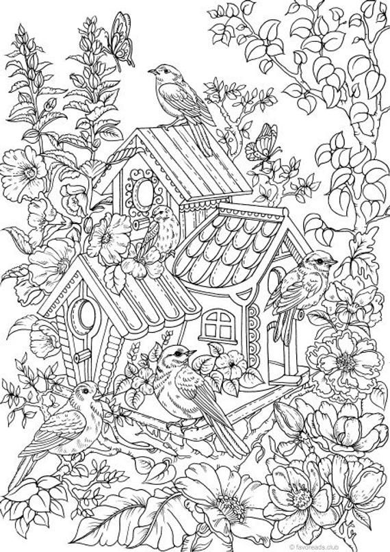 Birdhouse Printable Adult Coloring Page from Favoreads