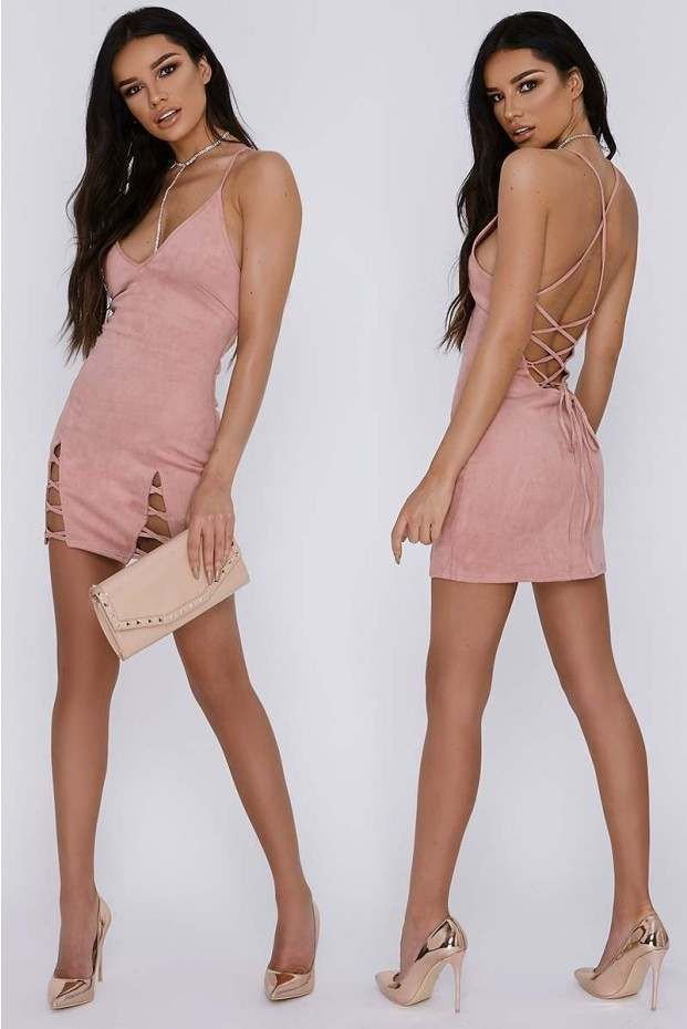 Darilynn Rose V Front Lace Up Detail Faux Suede Slip Dress
