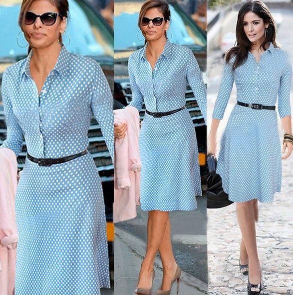 Cheap Fashion Turndown Collar Long Sleeve Single-breasted Polka Dots Print Solid Blue Knee Length Dress with Waistbelt