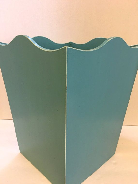 Painted Wooden Trash Can/Waste basket. by MonisMasonCreations