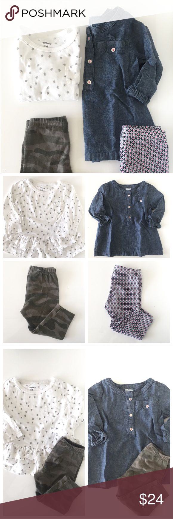 CARTERS 6M Bundle Adorable bundle of 2 Carters 6M / All interchangeable to create 4 different outfits! / Worn 1x, excellent condition / 100% cotton. Machine wash / Pet-free & smoke free home.  ♦️ Chambray Button down Long Sleeve w/Front Pocket  ♦️ Camo leggings  ♦️ Geometric Pattern leggings  ♦️ Star Long-sleeve w/ ruffled bottom  Hope you enjoy! Carter's Matching Sets