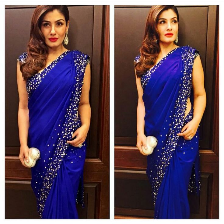 "#Royal ""blue #party #saree #glitter #bright&blingy"