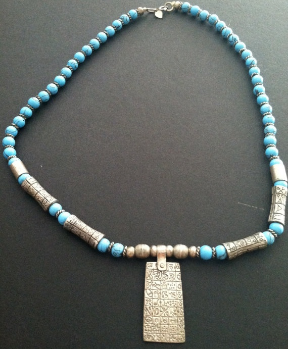 Turquoise silver Egyptian motif Necklace by MAISONDELAPOUBELLE, $52.00
