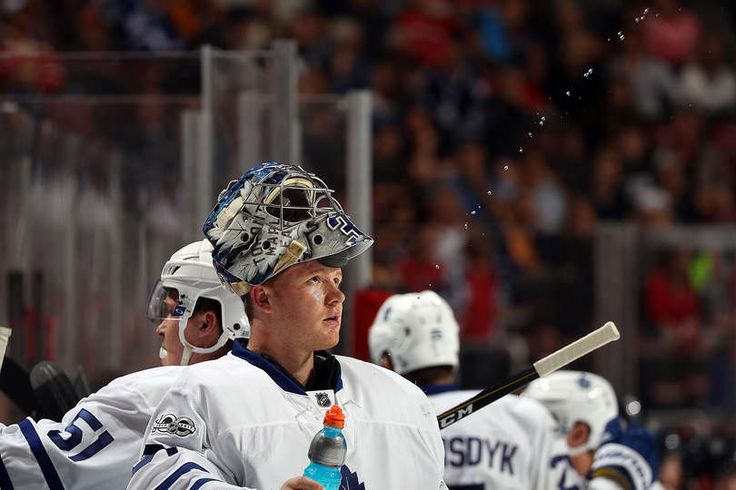 SUNRISE, FL - MARCH 14: Goaltender Frederik Andersen #31 of the Toronto Maple Leafs cools off during a break in the act against the Toronto Maple Leafs at the BB&T Center on March 14, 2017 in Sunrise, Florida. (Photo by Eliot J. Schechter/NHLI via Getty Images)