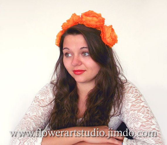 Orange fabric flowers Orange fascinator Bridal by Flowerartstudio, $30.00