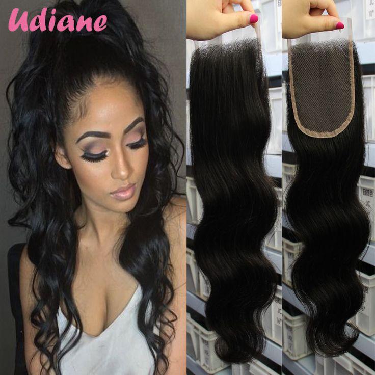 4x4 Lace Closure Brazilian Virgin Hair Clousure Brazilian Body Wave Lace Closure Bleached Knots Natural Black 8BA02C