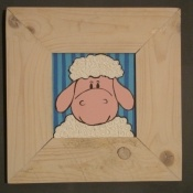 Schilderijtje dier met kader €55,00. Leuk handgemaakt schilderijtje met mooie ruwe natuurhouten kader. #schilderijtje #kinderkamer #Decodomus
