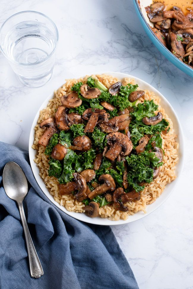 Sauteed Herb Mushrooms 'n Kale over Sprouted Brown Rice Recipe
