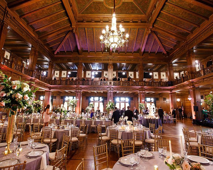 Simply beautiful wedding reception at the Scottish Rite. The soft purple linens and uplights combined with the gold centerpieces create an elegant and warm reception. Indianapolis Scottish Rite Cathedral is the perfect event venue for you to host your Wedding Reception Indianapolis
