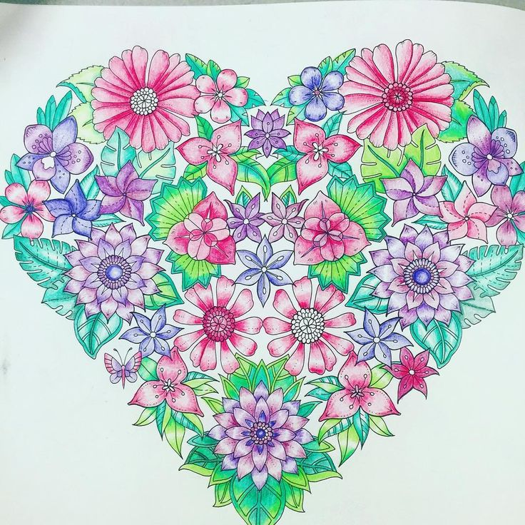Finally Finished My Wip Coloringbooksforadults Magicaljungle Heartmandala Coloring BookAdult ColoringProfile PicturesJohanna Basford