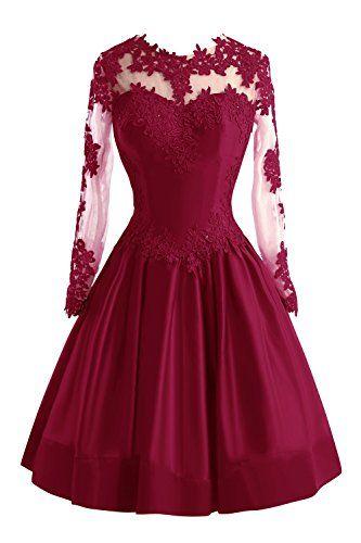 Bess Bridal Womens Sheer Lace Long Sleeve Short Prom Homecoming Dresses US2 Burgundy